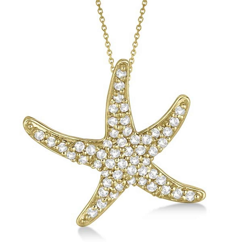 Diamond Starfish Pendant Necklace 14k Yellow Gold (0.55ct) #PAPPS20692