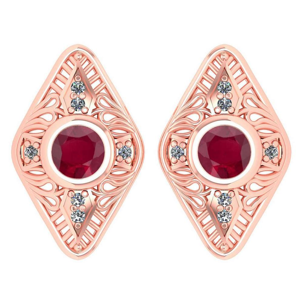 Certified 1.46 Ctw Ruby And Diamond 14k Rose Gold Halo Stud Earring #PAPPS16166