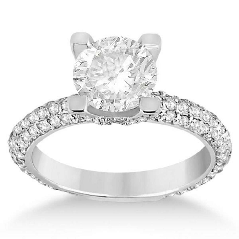 Eternity Pave Set Trio Diamond Engagement Ring 14K White Gold (1.58ct) #PAPPS20709