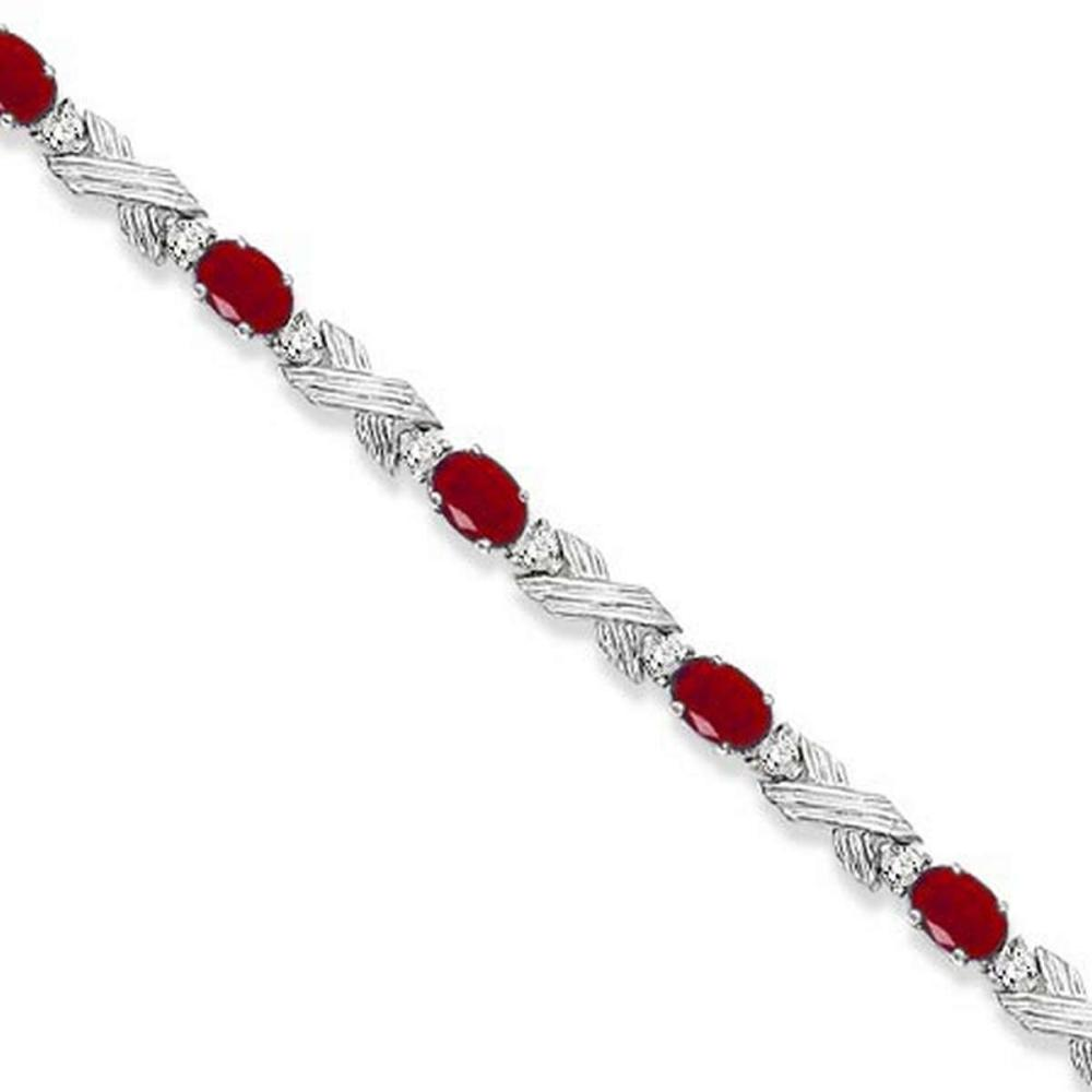Ruby and Diamond XOXO Link Bracelet in 14k White Gold (6.65ct) #PAPPS20655