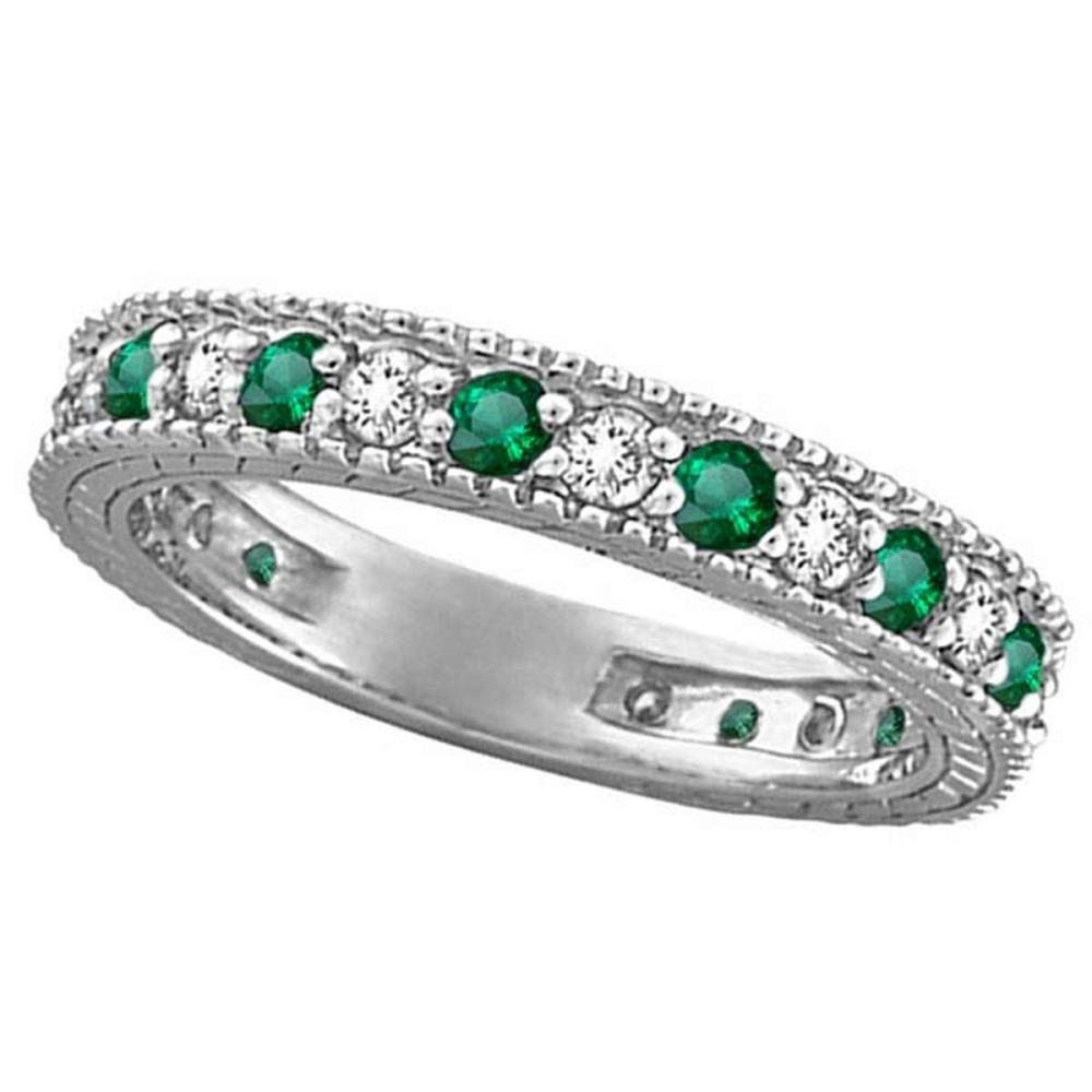 Diamond and Emerald Anniversary Ring Band in 14k White Gold (1.08 ctw) #PAPPS20923
