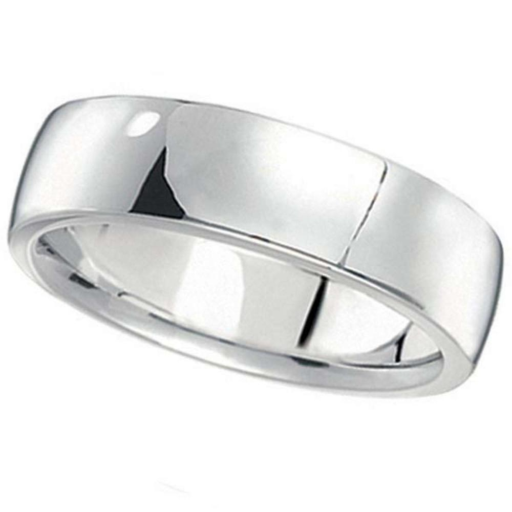 Mens Wedding Ring Low Dome Comfort-Fit in 14k White Gold (6mm) #PAPPS20687