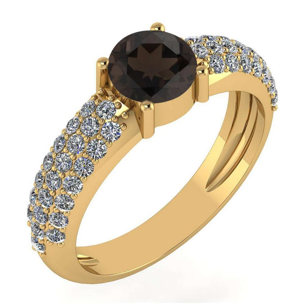 Certified 1.34 Ctw Smoky Quarzt And Diamond 14k Rose Gold Halo Ring #PAPPS15899