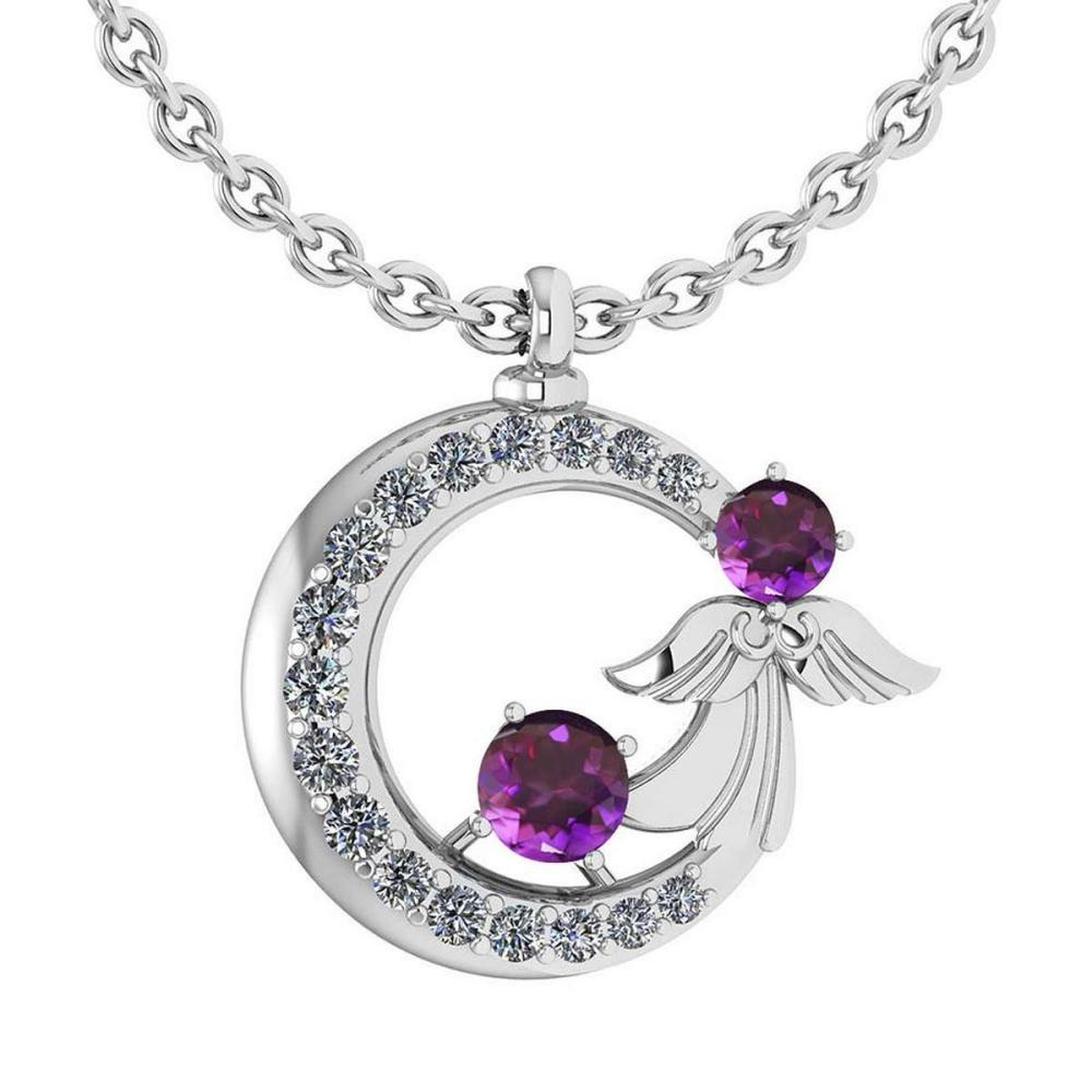 Certified 1.14 Ctw Amethyst And Diamond Tiny Angel Necklace For womens New Expressions love collection 18K White Gold #PAPPS19797