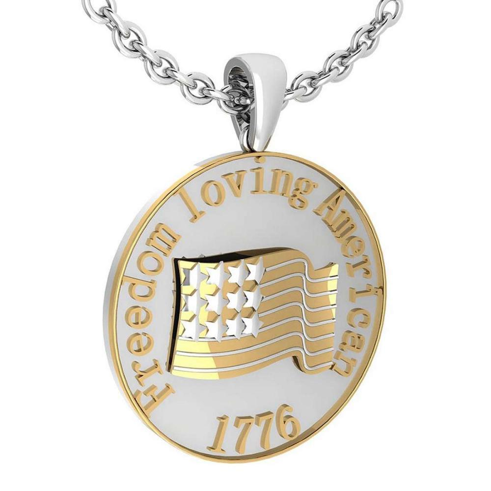 Freedom Loving American 1776 14K White Gold MADE IN ITALY Pendant #PAPPS20233
