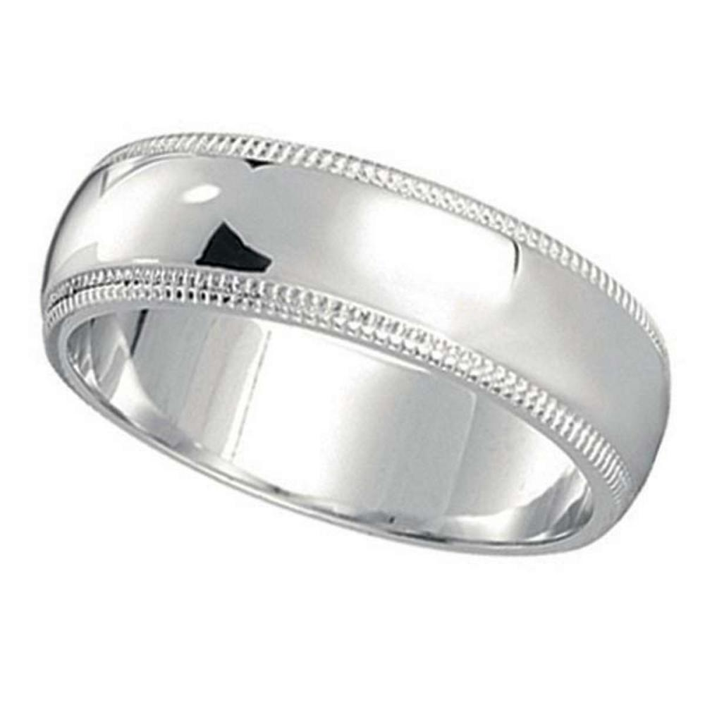 Mens Wedding Band Dome Comfort-Fit Milgrain 950 Platinum (5 mm) #PAPPS20898
