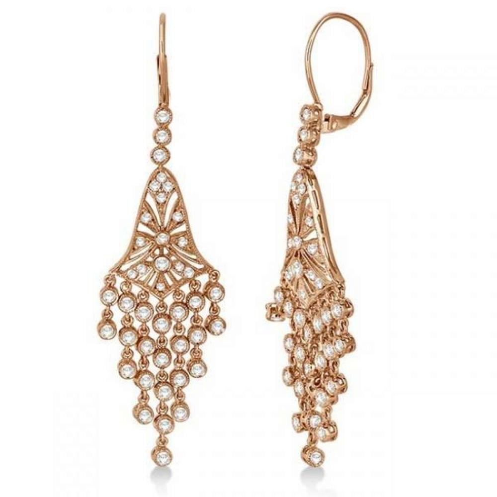 Bezel-Set Dangling Chandelier Diamond Earrings 14K Rose Gold (2.27ct) #PAPPS20685