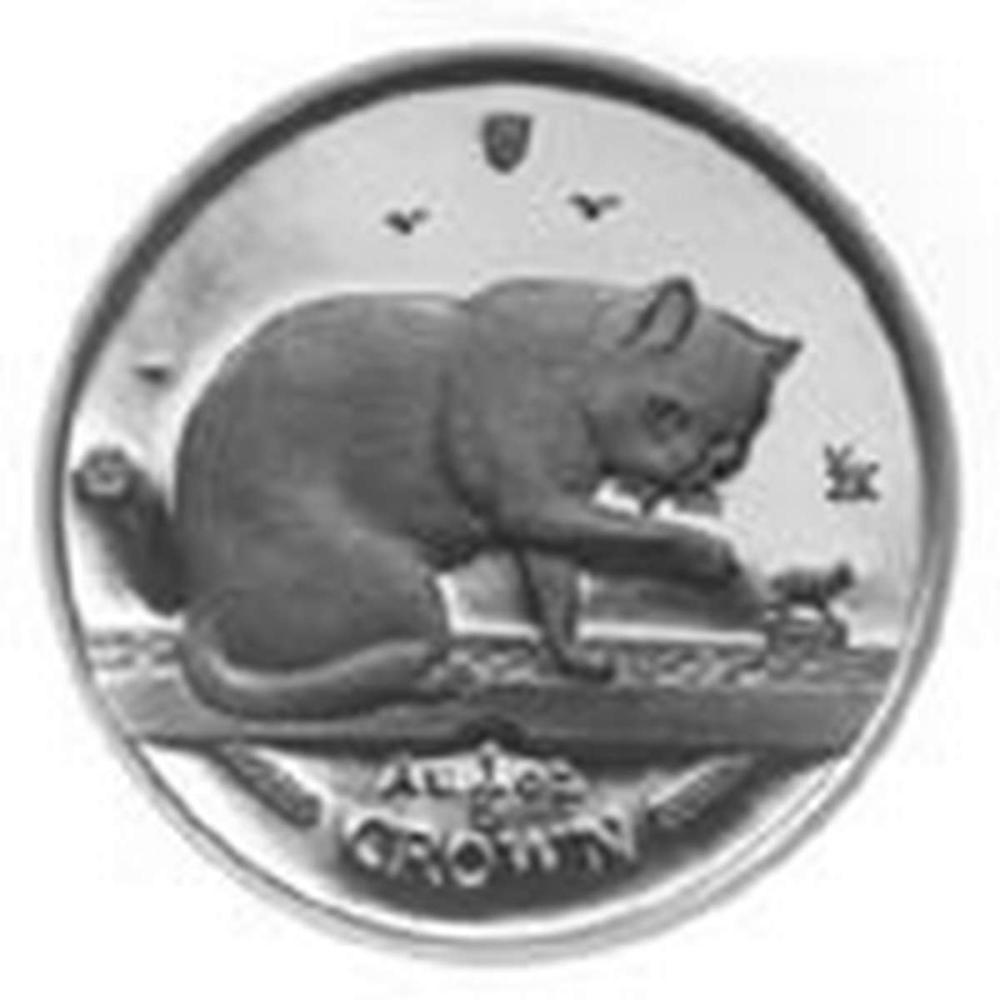 Isle of Man 1999 1 Crown Silver Proof British Blue Cat #PAPPS84440