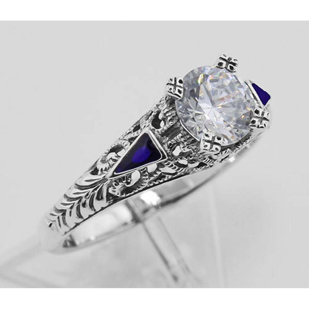 Filigree Ring w/ CZ / Enamel - Sterling Silver #PAPPS98142