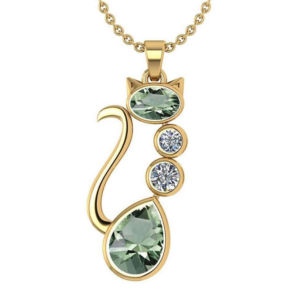 Certified 2.67 Ctw Green Amethyst And Diamond Cat Necklace 18K Yellow Gold #PAPPS19793