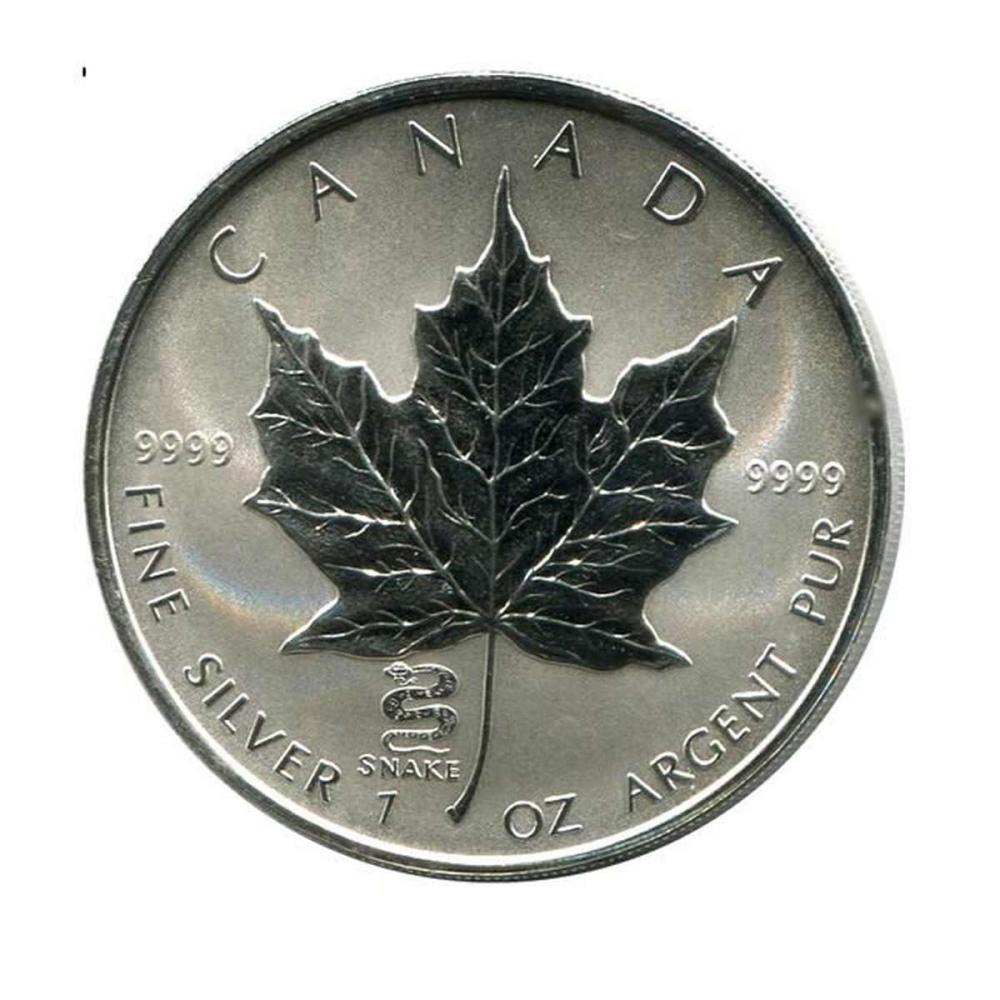 2001 Canada 1 oz. Silver Maple Leaf Reverse Proof Snake Privy Mark #PAPPS84467