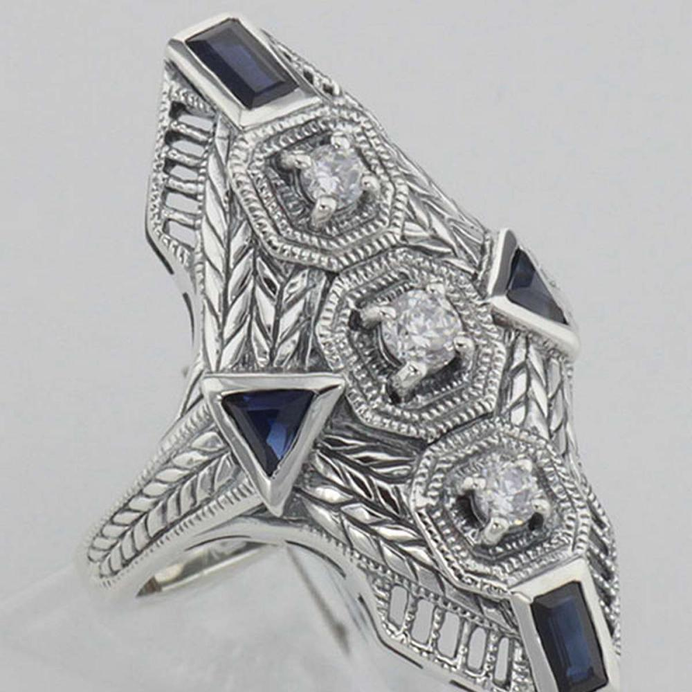 Art Deco Style Filigree Ring Genuine Sapphires & CZ - Sterling Silver #PAPPS98144