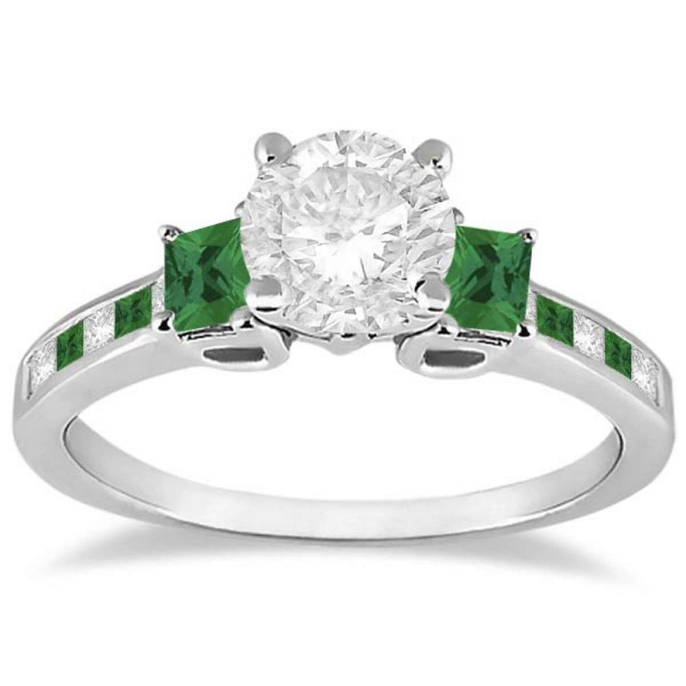 Princess Cut Diamond and Emerald Engagement Ring 18k White Gold (1.18ct) #PAPPS20705