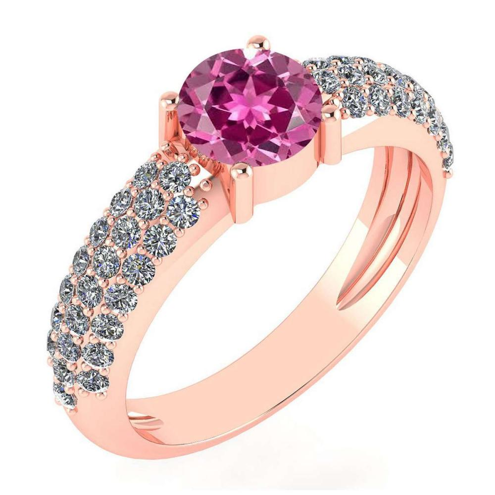Certified 1.34 Ctw Pink Tourmaline And Diamond 14k Yellow Gold Halo Ring #PAPPS15901