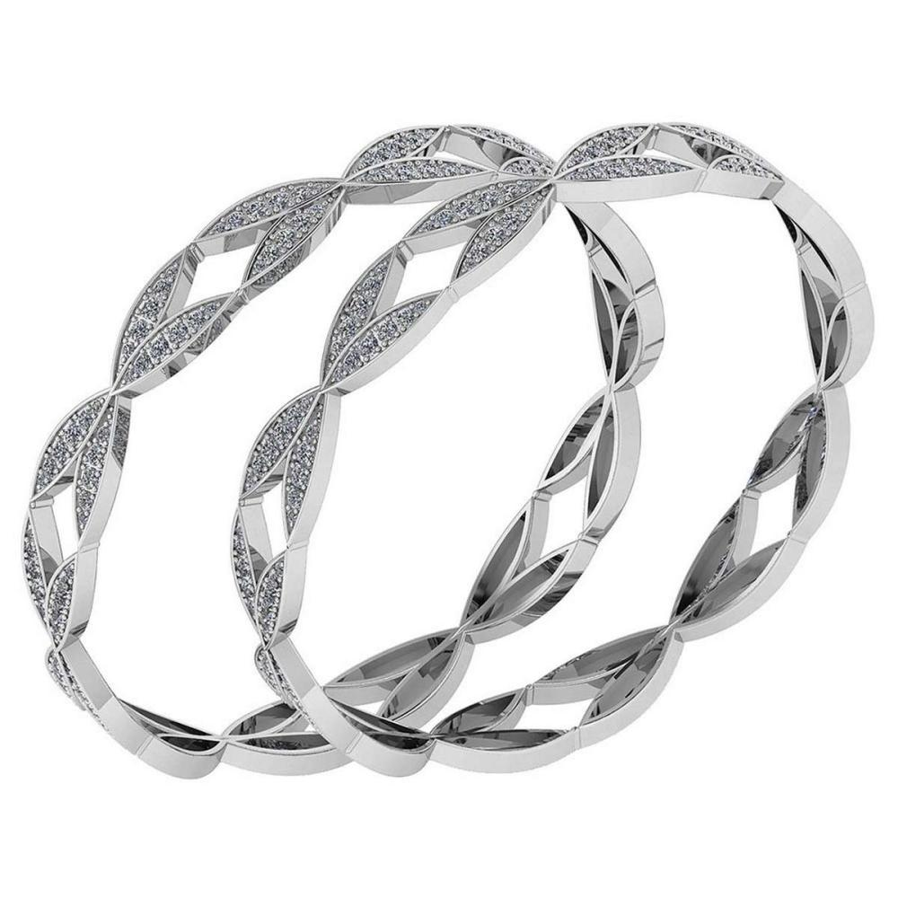 Certified 6.52 Ctw Diamond VS/SI1 Bangles 14K White Gold Made In USA #PAPPS23847