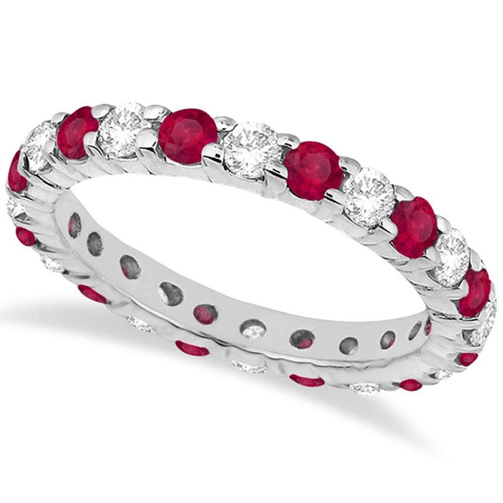 Eternity Diamond and Ruby Ring Band 14k White Gold (2.35ct) #PAPPS20678