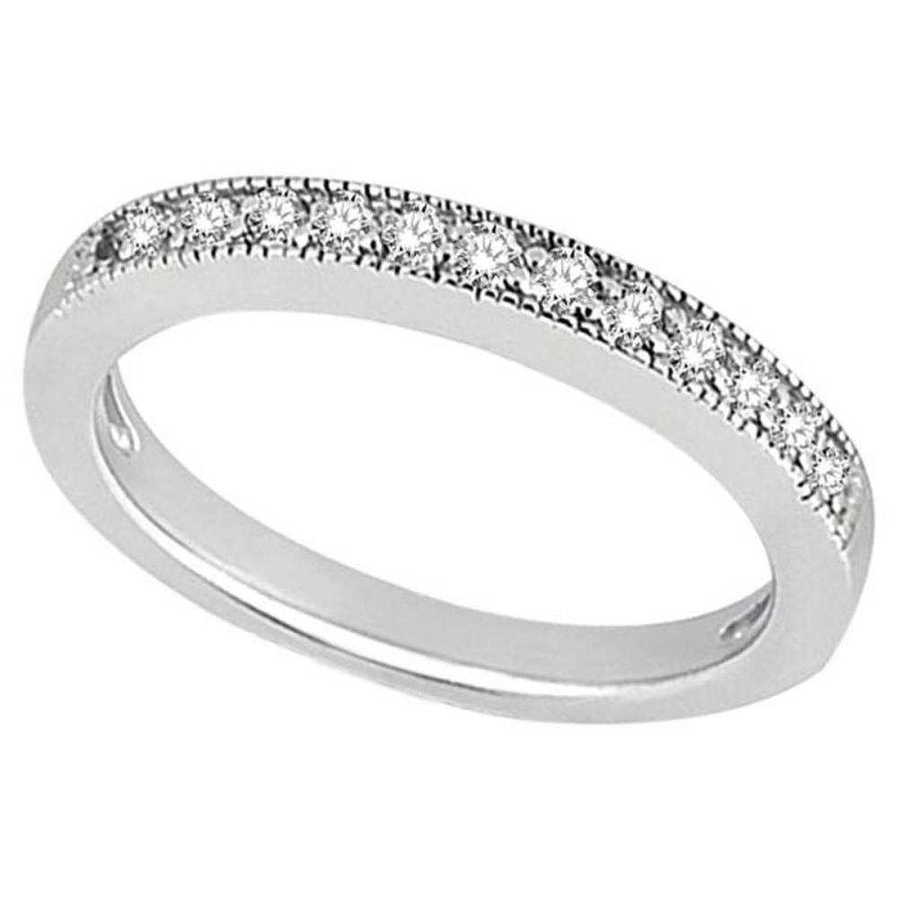 Milgrain Pave-Set Diamond Wedding Band in Palladium (0.28 ctw) #PAPPS20875