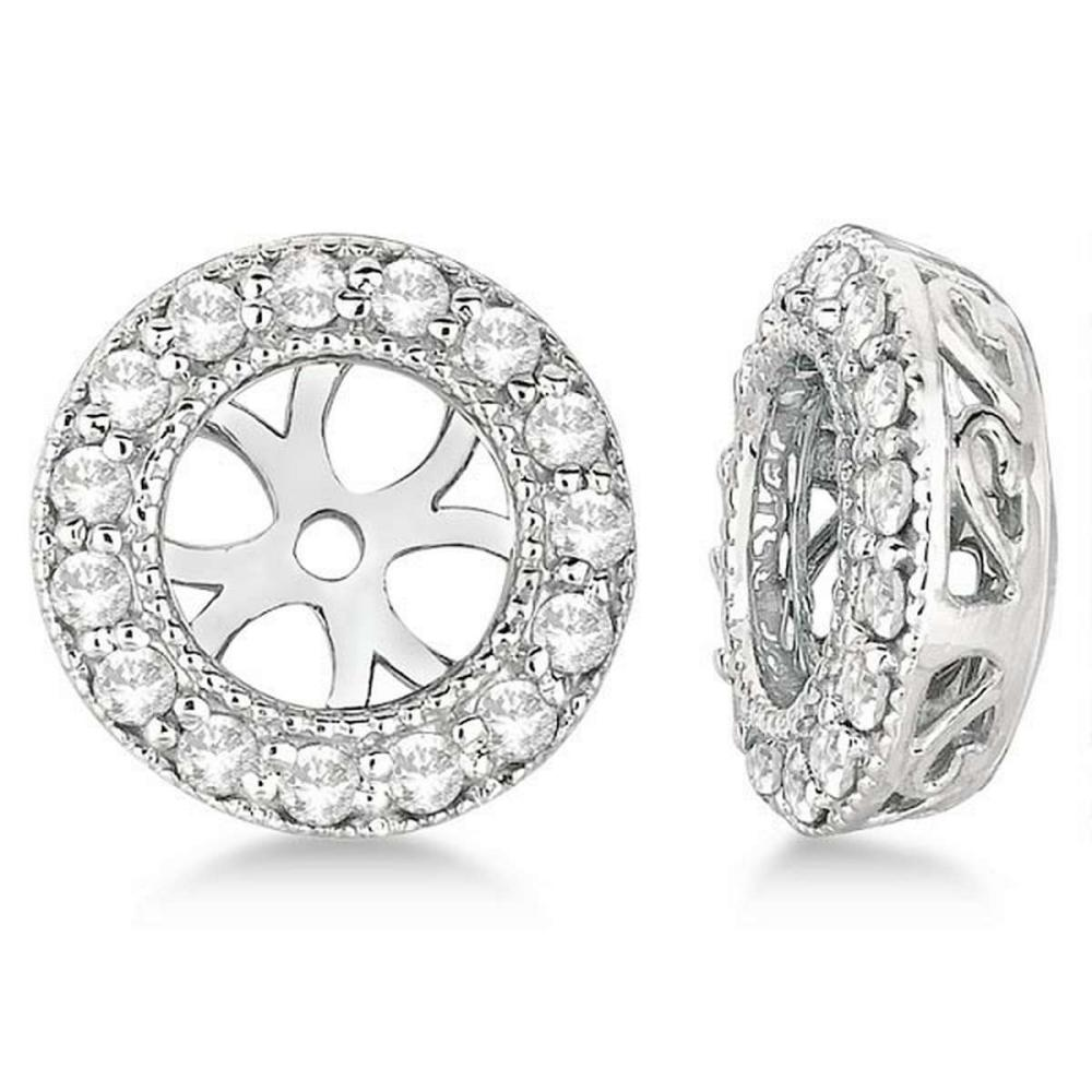 Vintage Round Cut Diamond Earring Jackets 14k White Gold (0.34ct) #PAPPS20873