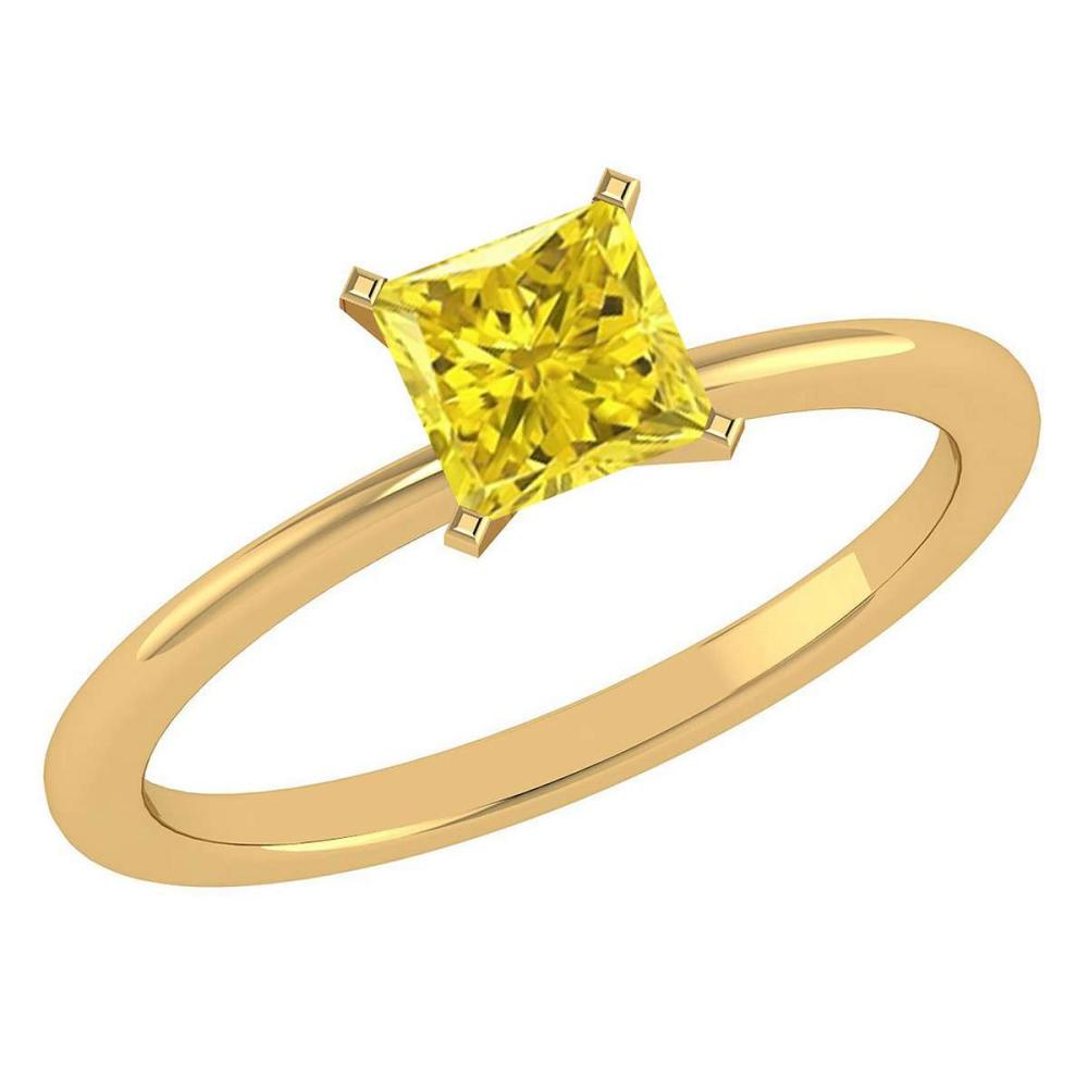 Certified 0.75 Ctw Princess Cut Fancy Yellow Diamond 14k Yellow Gold Ring #PAPPS16088