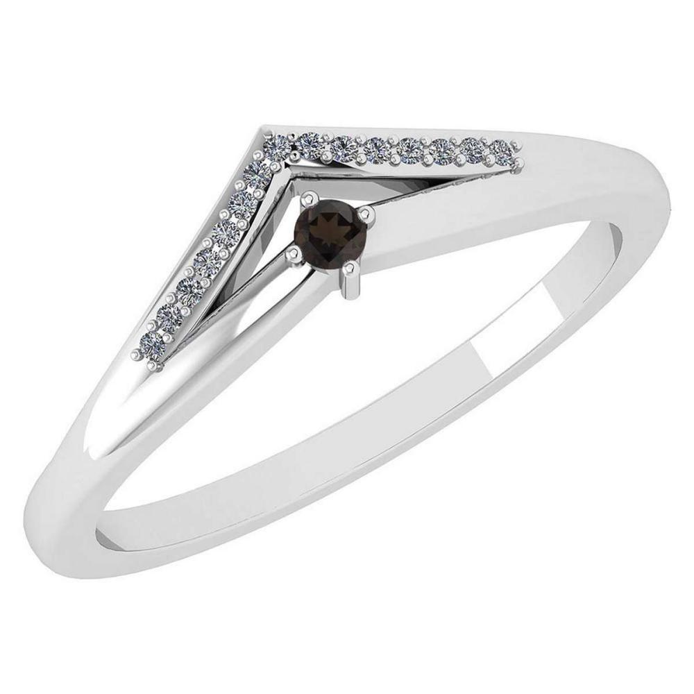 Certified 0.07 Ctw Smoky Quarzt And Diamond 18k White Gold Halo Ring (VS/SI1) MADE IN USA #PAPPS20540