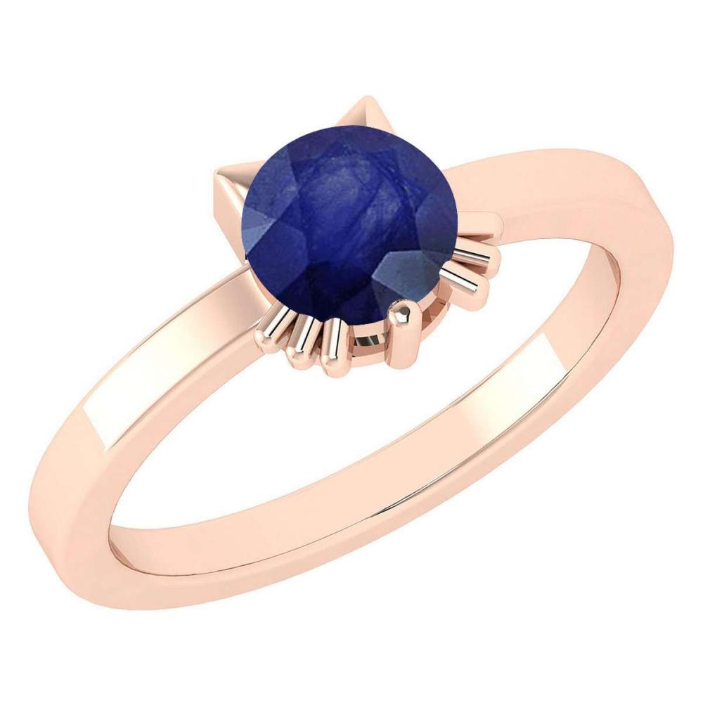 Certified 1.00 Ctw Blue Sapphire Cat Style Solitaire Ring 14K Rose Gold MADE IN USA #PAPPS20936