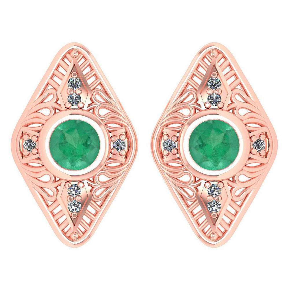 Certified 1.46 Ctw Emerald And Diamond 14k Rose Gold Halo Stud Earring #PAPPS16161