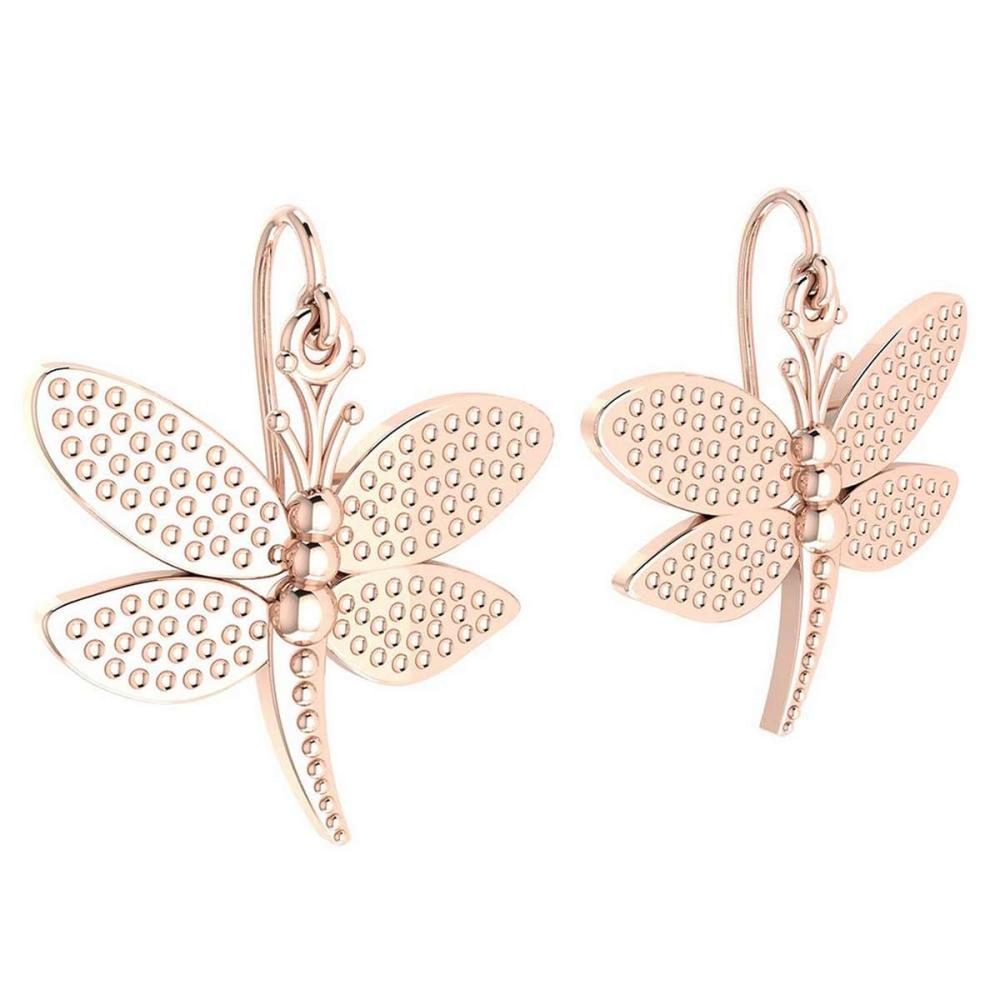 Gold Butterfly Wire Hook Earrings 18K Rose Gold Made In Italy #PAPPS22300