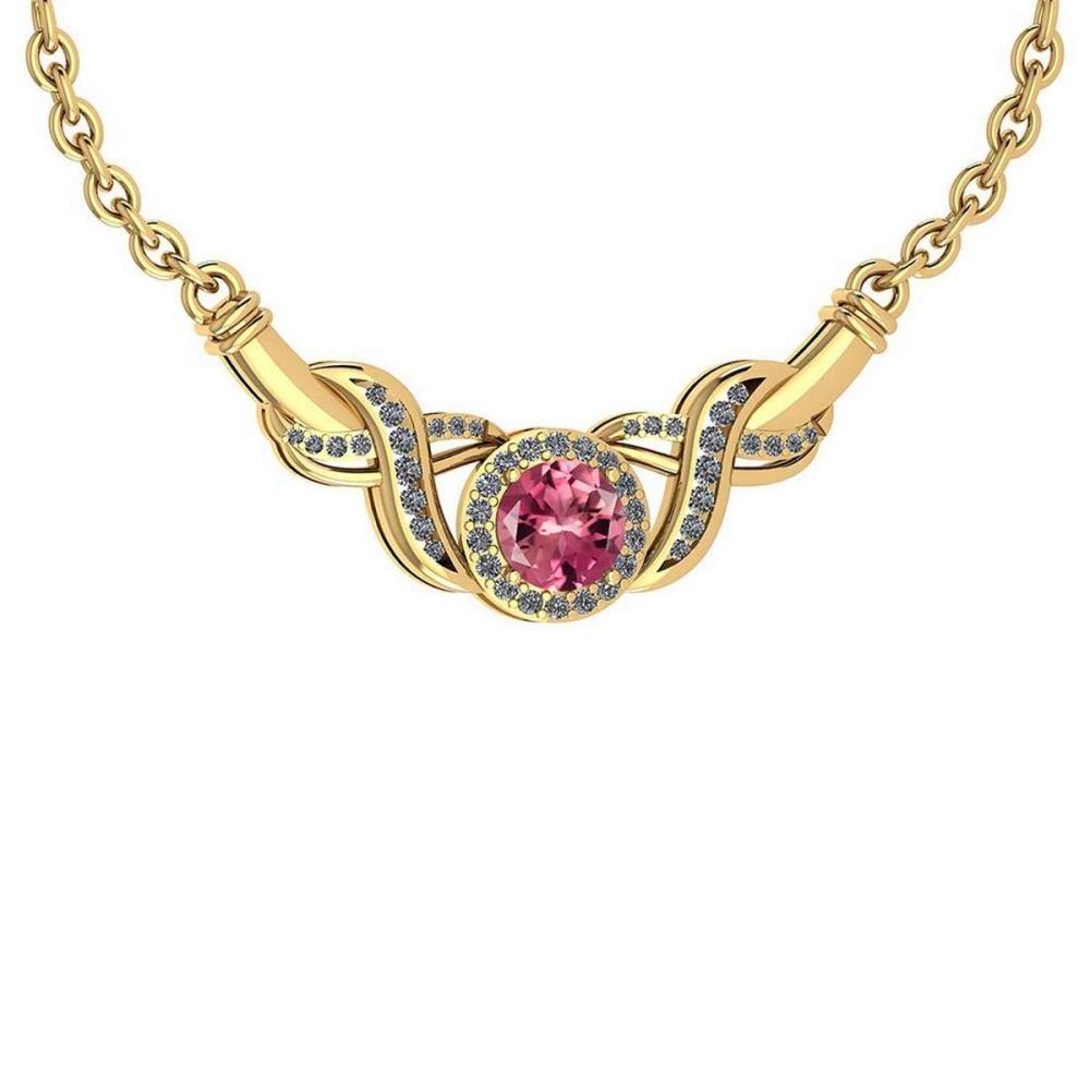 Certified 1.16 Ctw Pink Tourmaline And Diamond Necklace For Beautiful Ladies 18K Yellow Gold #PAPPS19801