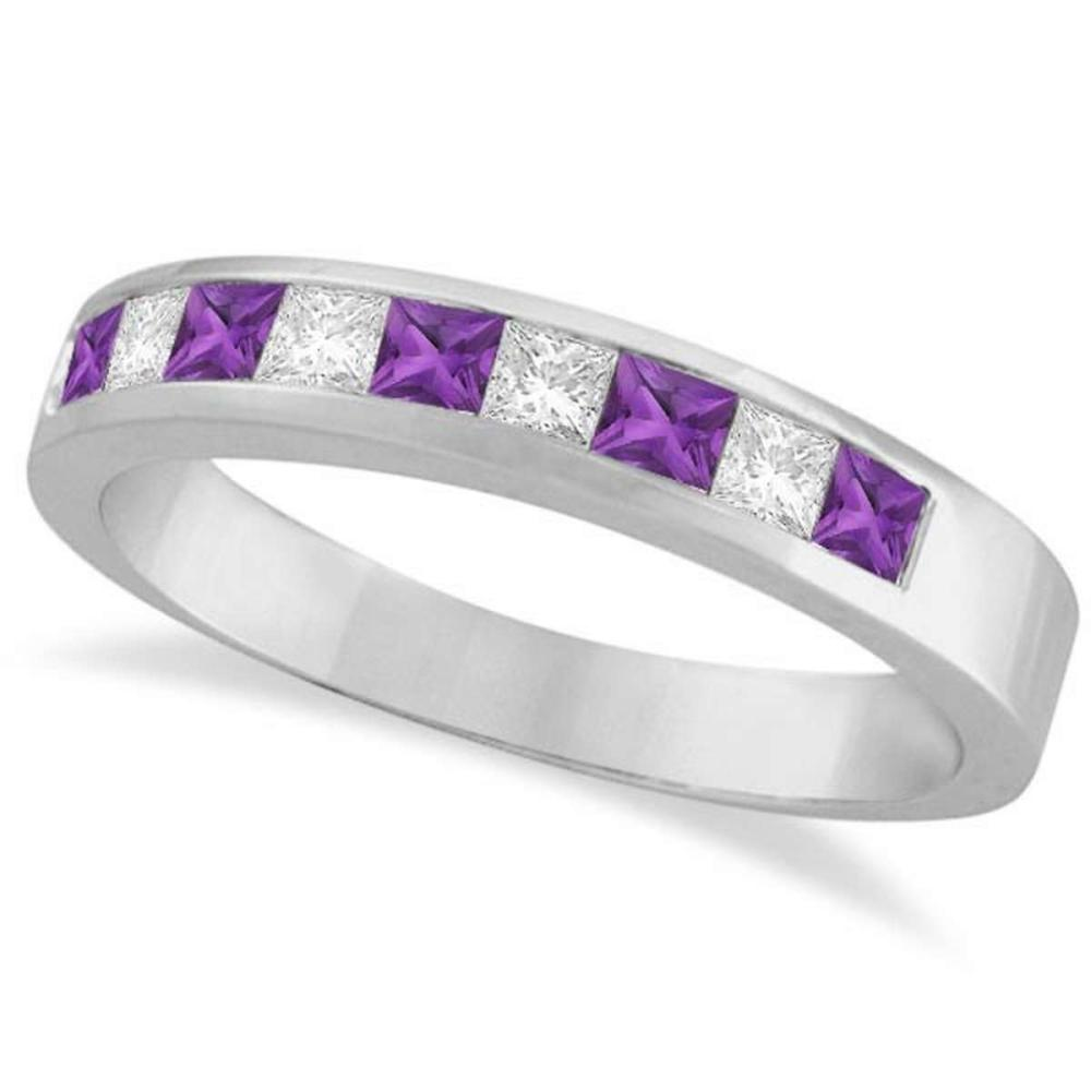 Princess Channel-Set Diamond and Amethyst Ring Band 14K White Gold #PAPPS20702