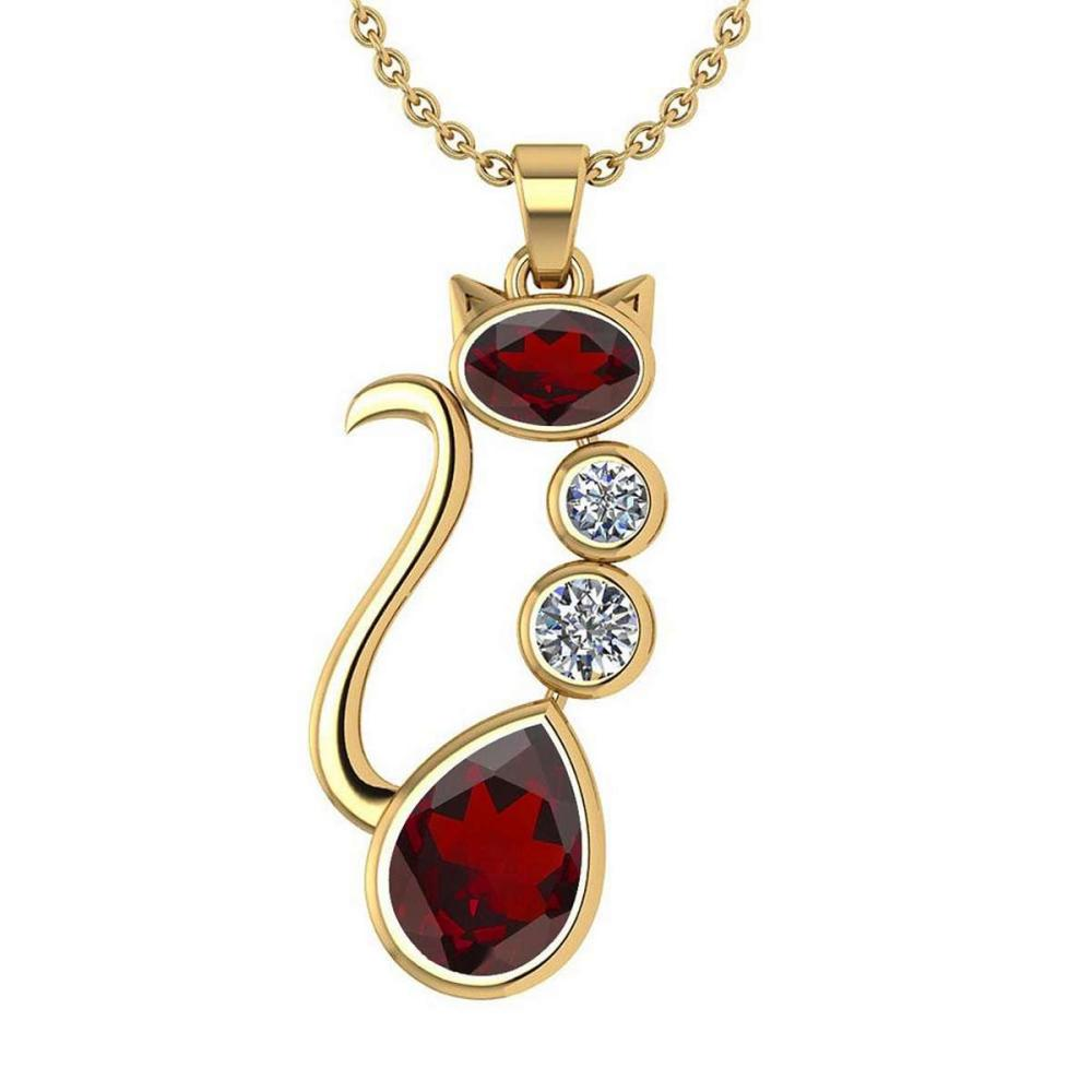 Certified 2.67 Ctw Garnet And Diamond Cat Necklace 18K Yellow Gold #PAPPS19795