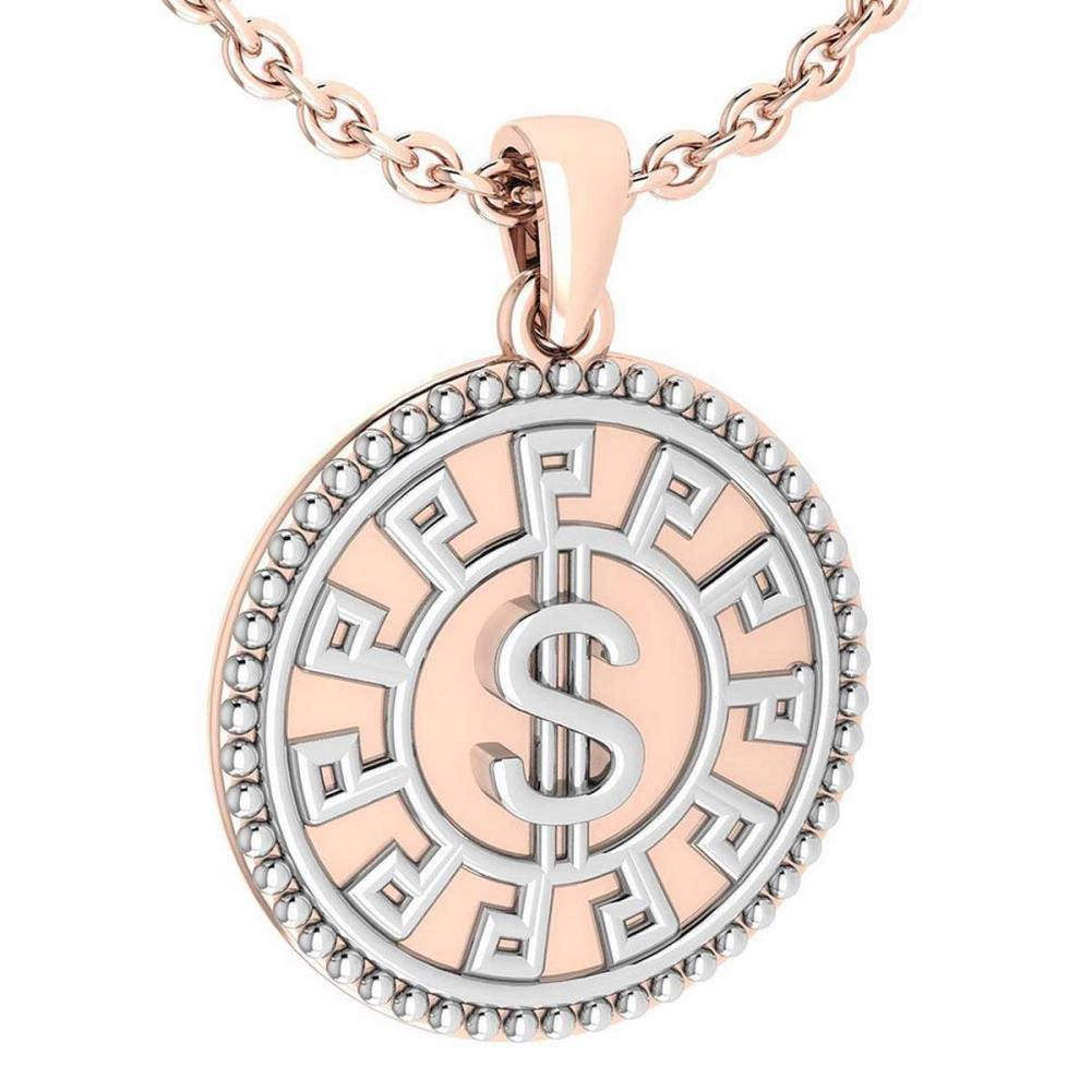New American And European Style Gold MADE IN ITALY Coins Charms Necklace 14k White And Rose Gold MADE IN ITALY #PAPPS20247