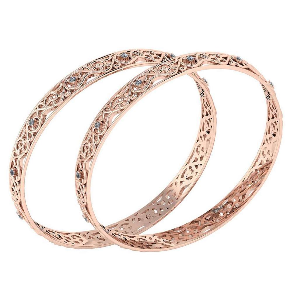Certified 0.72 Ctw Diamond VS/SI1 Bangles 14K Rose Gold Made In USA #PAPPS23845