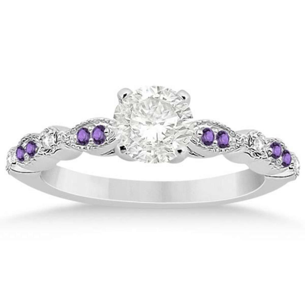 Diamond & Amethyst Engagement Ring 14k White Gold 1.04ct  #PAPPS20912
