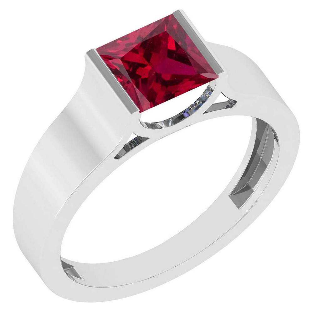 Certified 0.75 Ctw Genuine Ruby 14k White Gold Ring #PAPPS16159