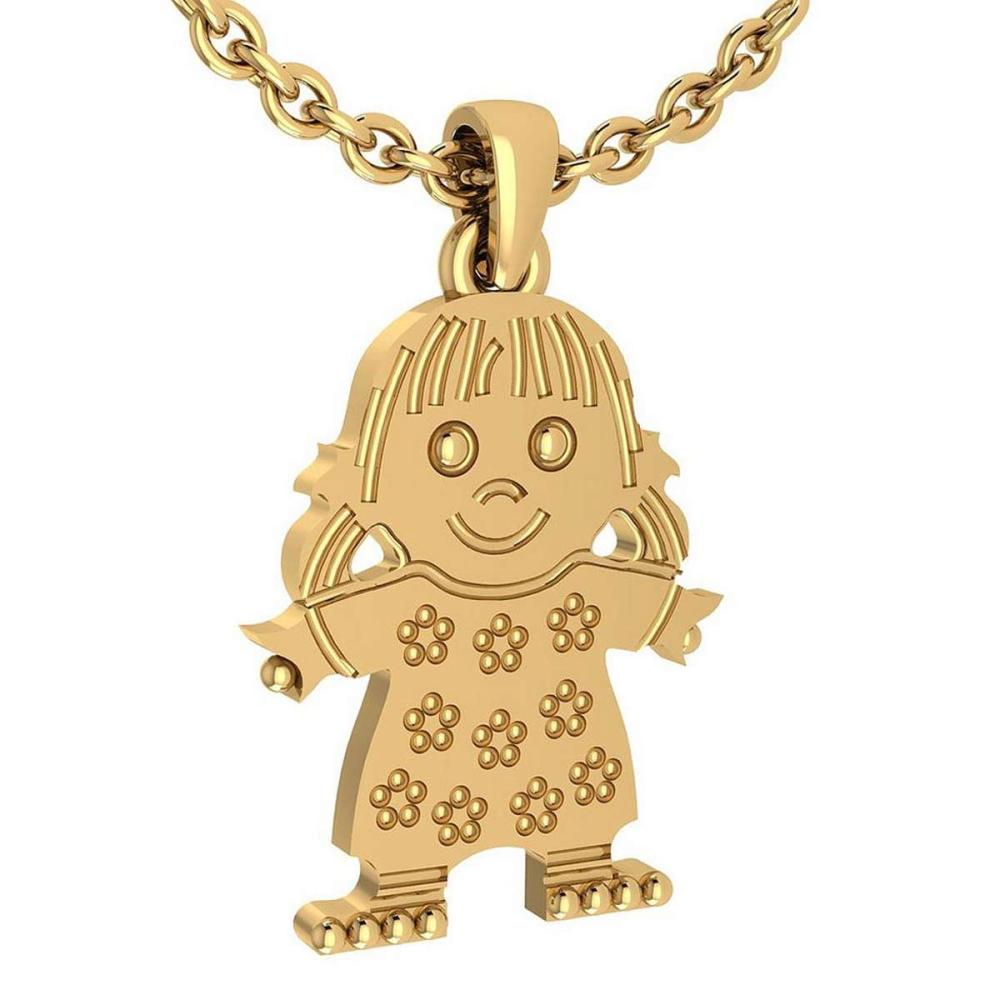 Little Baby Girl Gold MADE IN USA Charm Necklace 14K Yellow Gold MADE IN ITALY #PAPPS20238