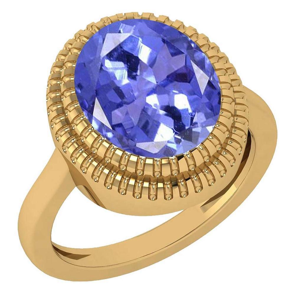 Certified 5.05 Ctw Tanzanite 14k Yellow Gold Solitaire Ring (VS/SI1) MADE IN USA #PAPPS20925