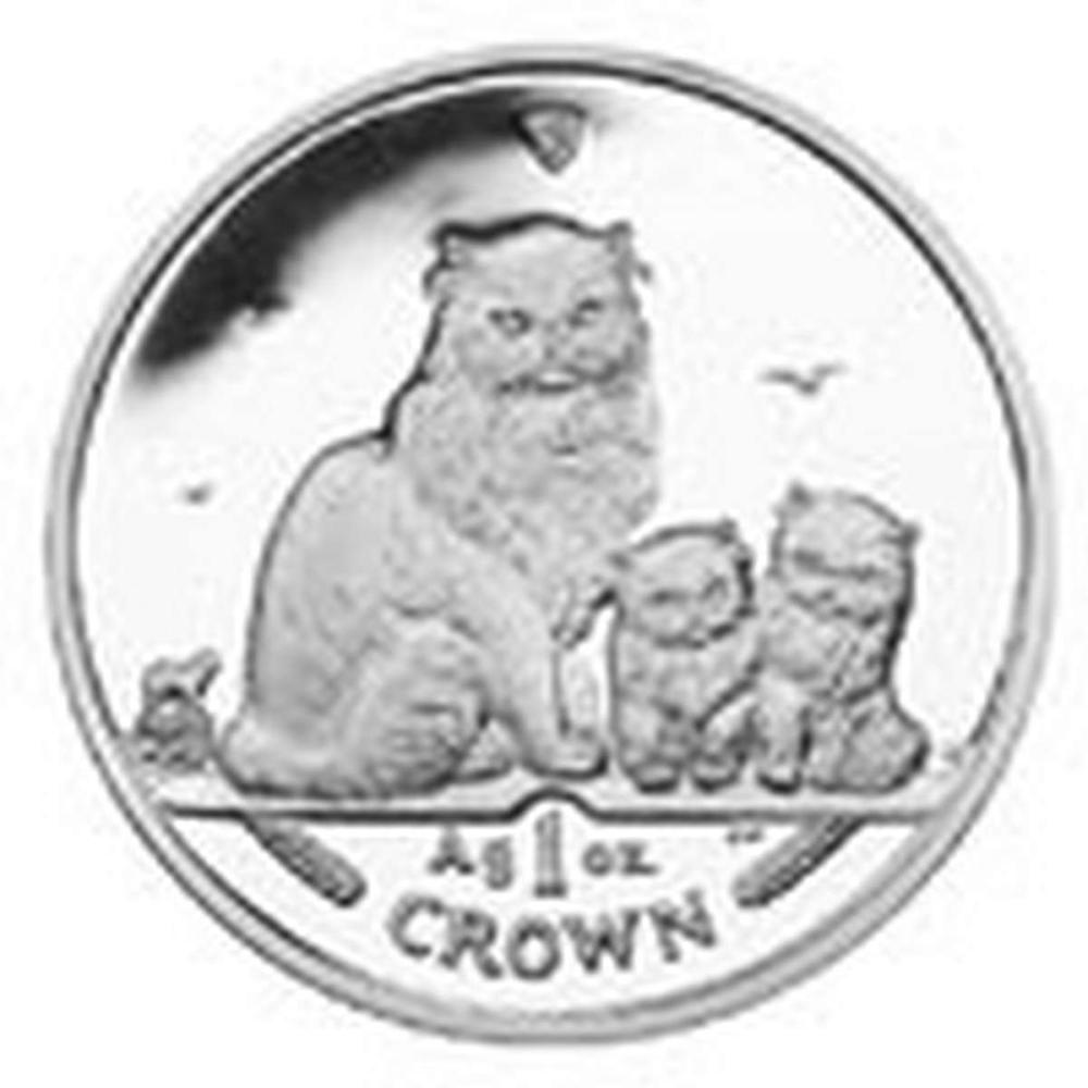 Isle of Man 2005 1 Crown Silver Proof Himalayan Cat #PAPPS84439