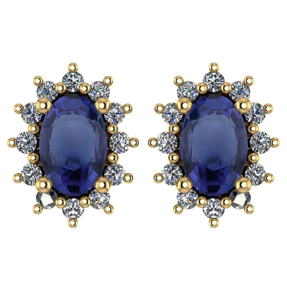 Certified 1.24 Ctw Blue Sapphire And Diamond 18k Yellow Gold Halo Stud Earrings (VS/SI1) MADE IN USA #PAPPS20542