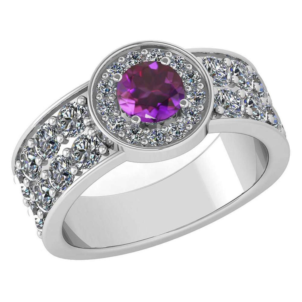 Certified 1.88 Ctw Amethyst And Diamond Ladies Fashion Halo Ring 14K White Gold (VS/SI1) MADE IN USA #PAPPS21058