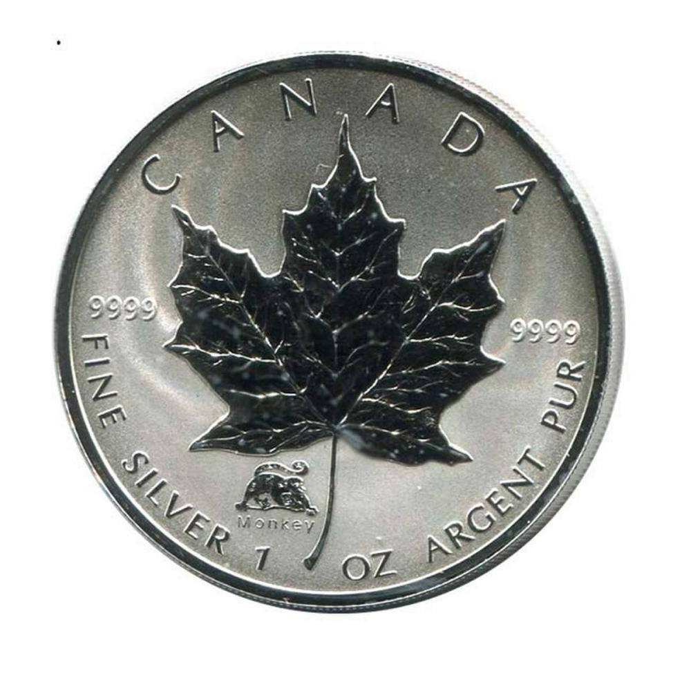 2004 Canada 1 oz. Silver Maple Leaf Reverse Proof Monkey Privy Mark #PAPPS84472