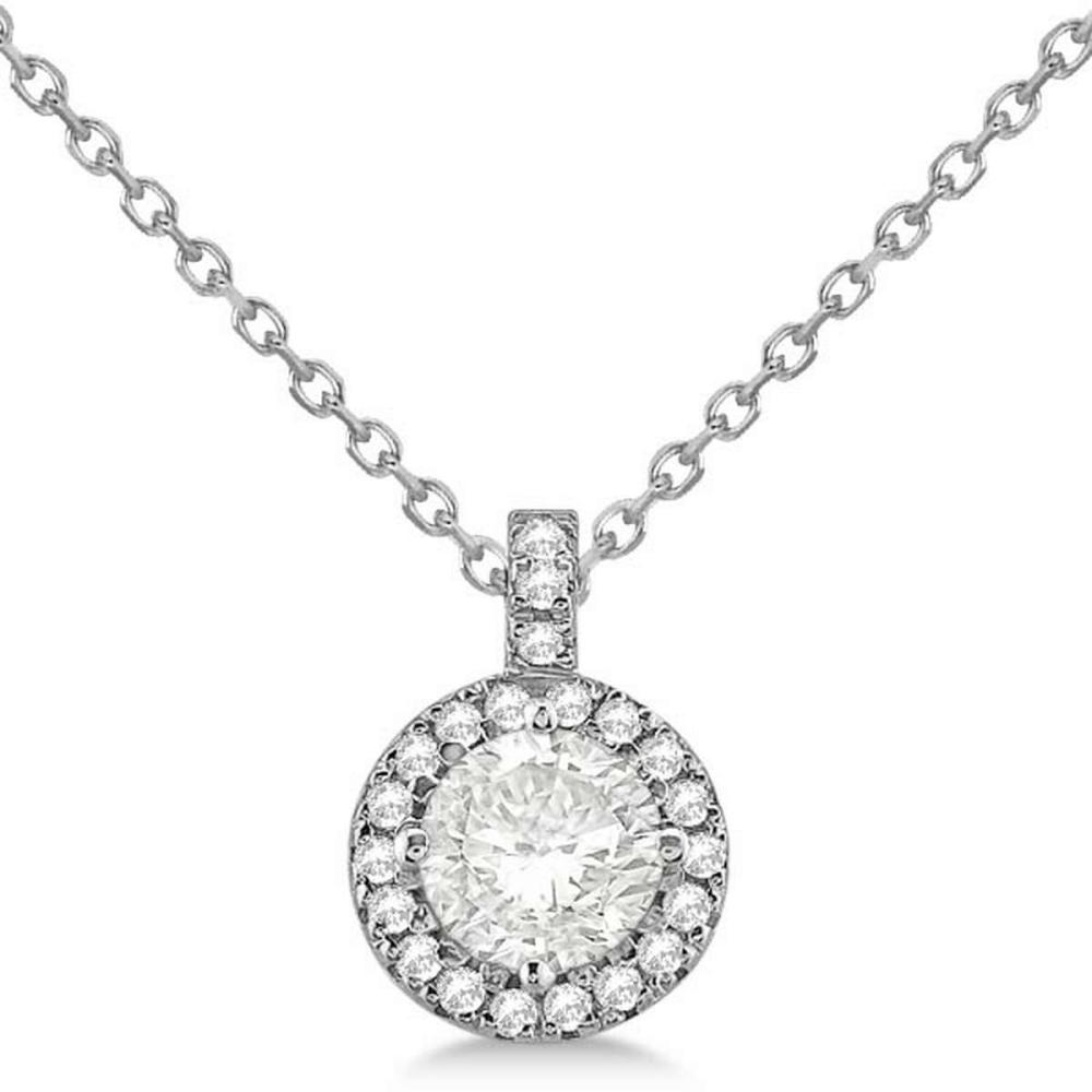 Diamond Halo Pendant Necklace Round Solitaire 14k White Gold (2.00ct) #PAPPS20707