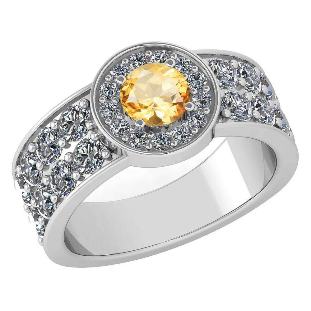 Certified 1.88 Ctw Citrine And Diamond Ladies Fashion Halo Ring 14K White Gold (VS/SI1) MADE IN USA #PAPPS21060