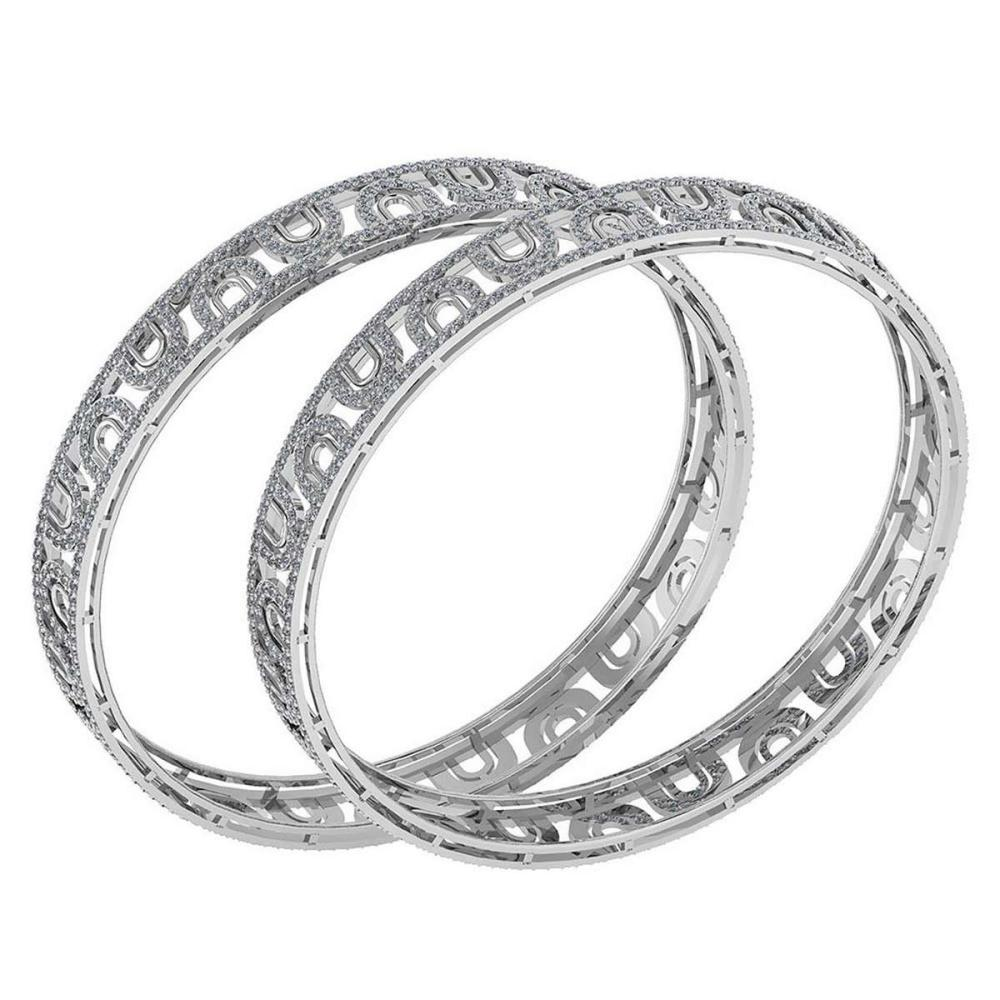 Certified 8.12 Ctw Diamond VS/SI1 Bangles 14K White Gold Made In USA #PAPPS23853