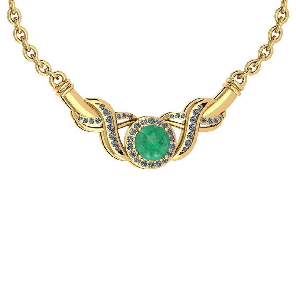 Certified 1.16 Ctw Emerald And Diamond Necklace For Beautiful Ladies 18K Yellow Gold #PAPPS19803