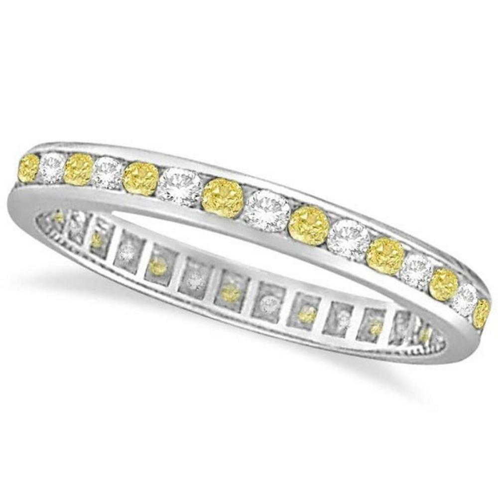 Channel-Set Yellow and White Diamond Eternity Ring 14k W Gold (1.00ct) #PAPPS20905