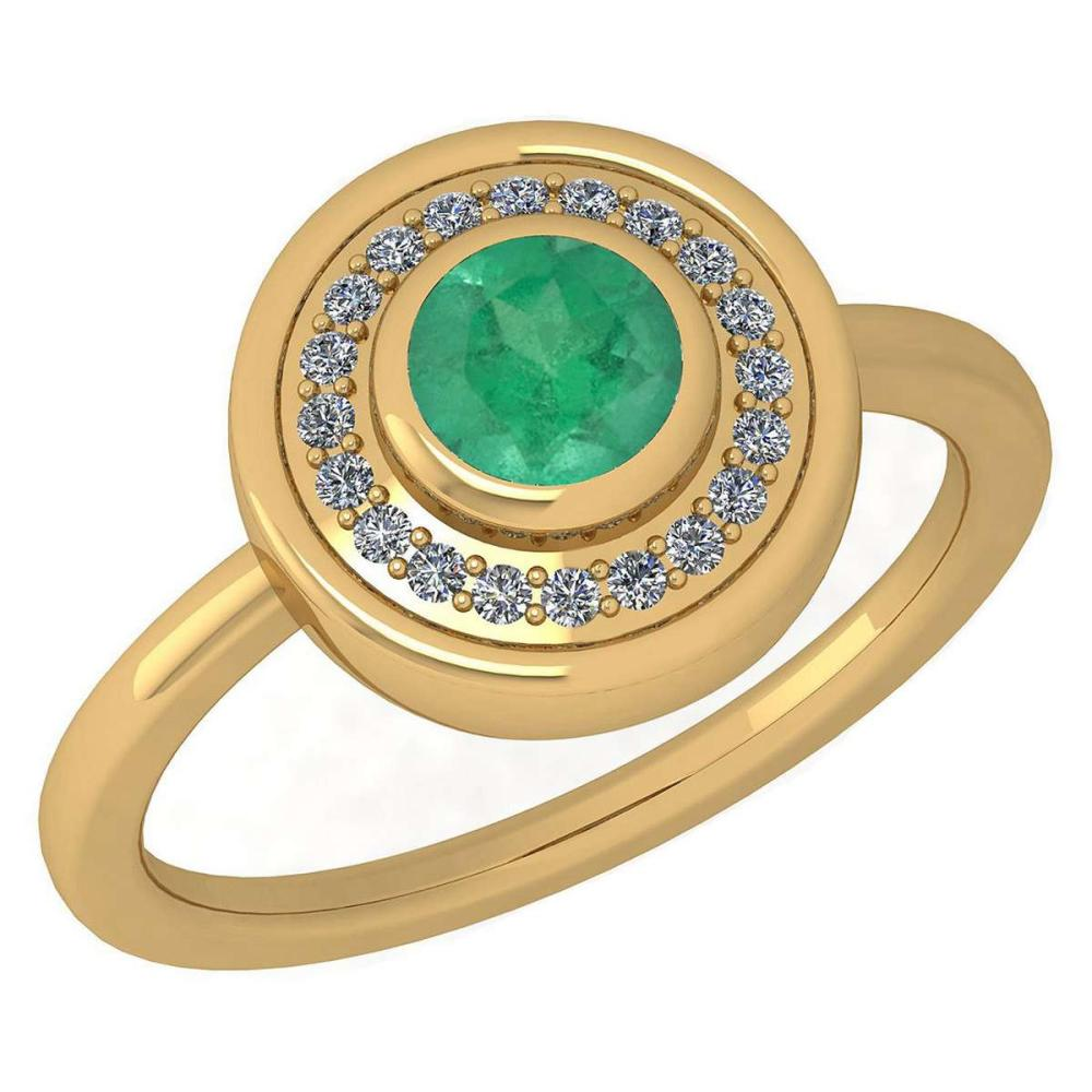 Certified 0.62 Ctw Emerald And Diamond Ladies Fashion Halo Ring 14K Yellow Gold (VS/SI1) MADE IN USA #PAPPS20929
