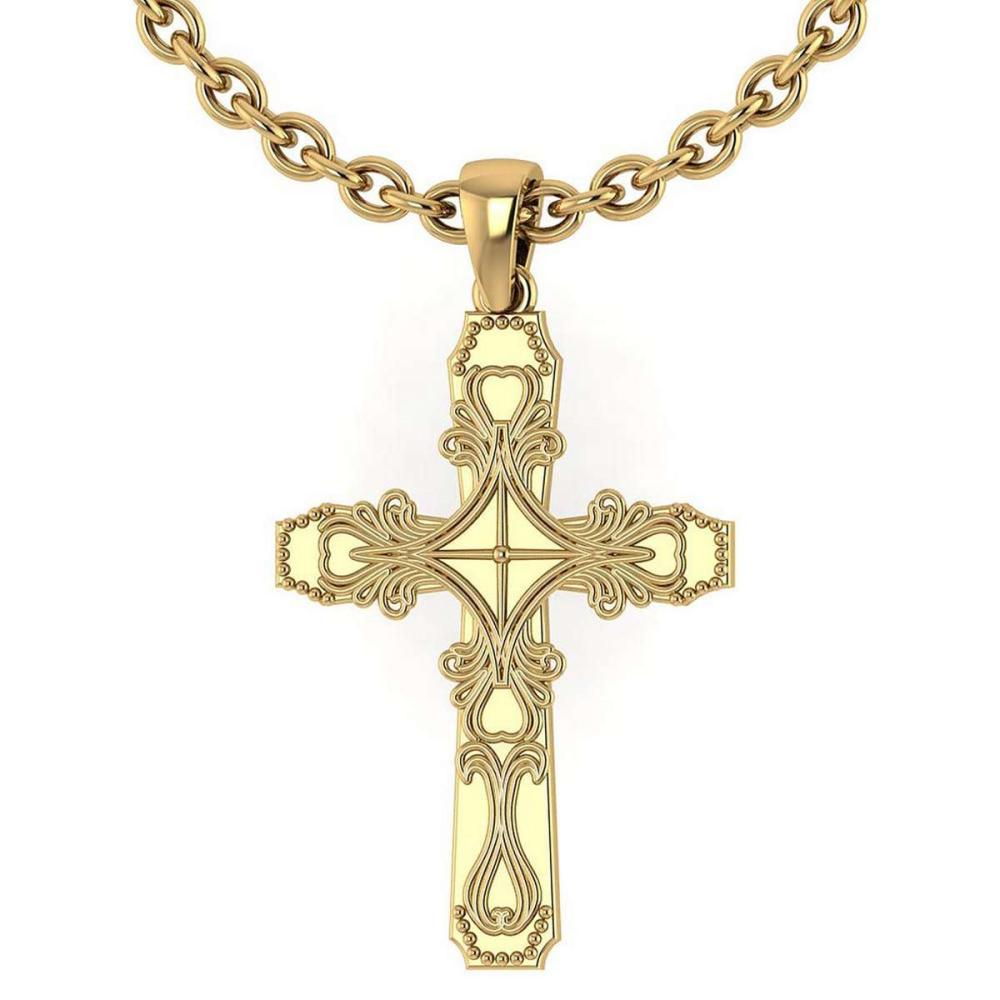 Gold Cross Pendant 14K Yellow Gold Made In Italy #PAPPS22226