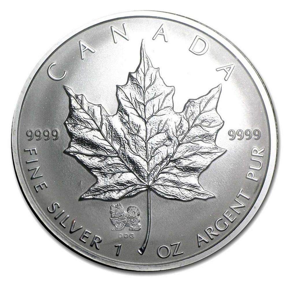 2006 Canada 1 oz. Silver Maple Leaf Reverse Proof Dog Privy Mark #PAPPS84461
