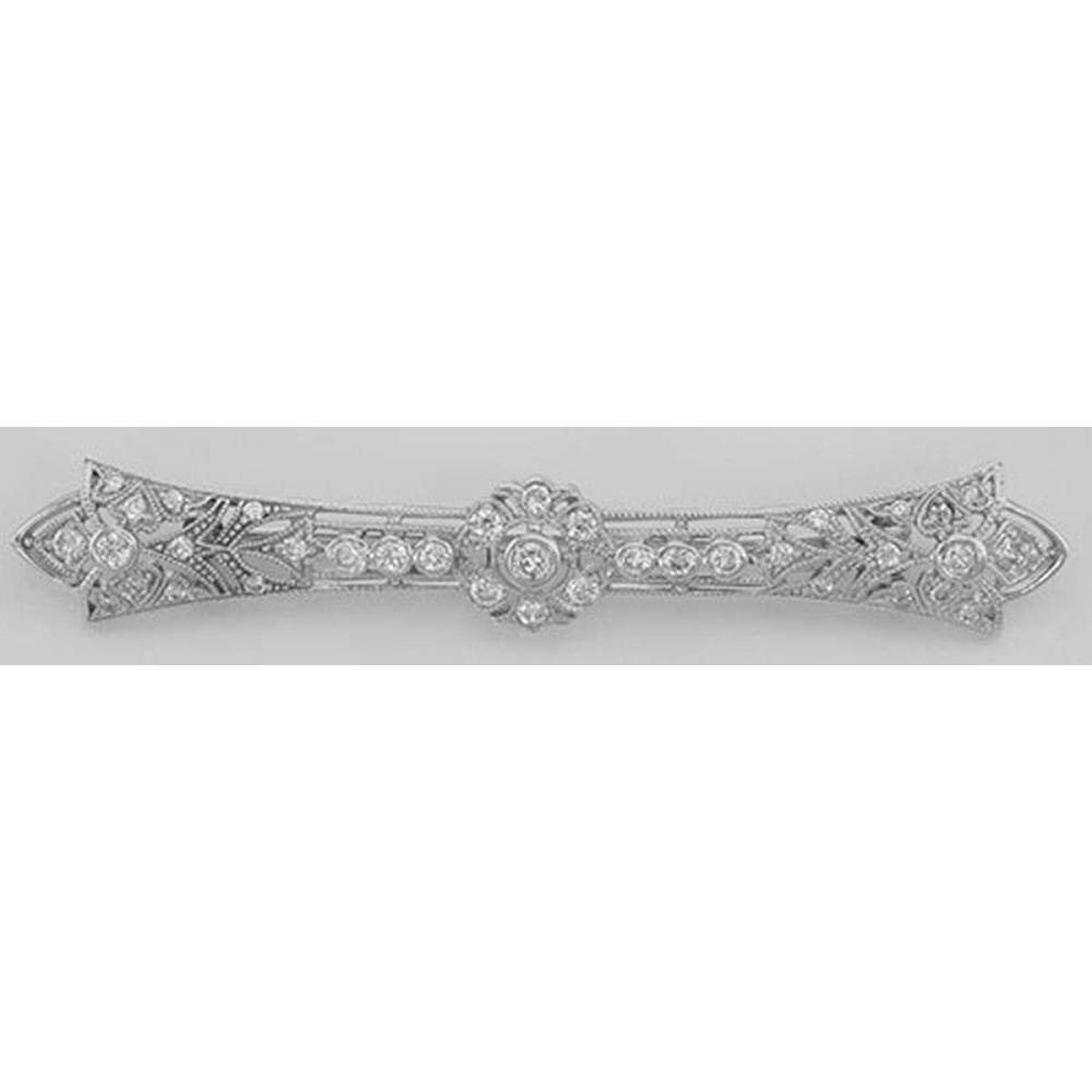 Classic Antique Style Filigree Bar Pin / Brooch w/ CZ - Sterling Silver #PAPPS98103
