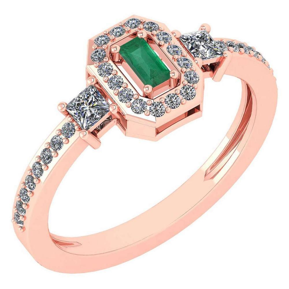Certified 0.55 Ctw Emerlad And Diamond 14k Rose Gold Ring #PAPPS16587
